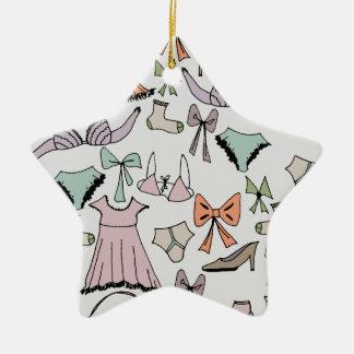 getting dressed ceramic star ornament