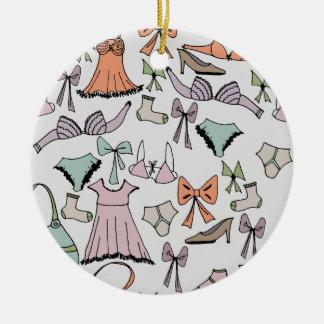 getting dressed round ceramic ornament