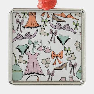 getting dressed Silver-Colored square ornament