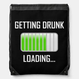 Getting Drunk Loading Funny Drawstring Bag