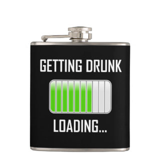 Getting Drunk Loading Funny Hip Flask