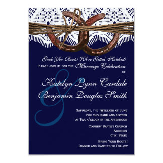 "Getting Hitched Navy Horseshoe Wedding Invitations 4.5"" X 6.25"" Invitation Card"