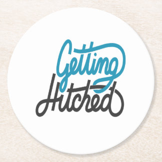 Getting Hitched Round Paper Coaster