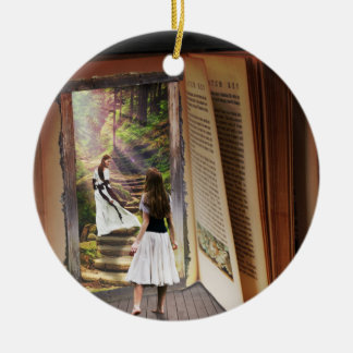 Getting Lost in imagination while reading book Ceramic Ornament