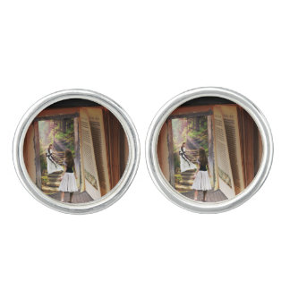 Getting Lost in imagination while reading book Cuff Links
