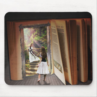Getting Lost in imagination while reading book Mouse Pad