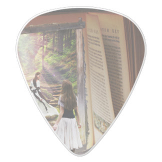 Getting Lost in imagination while reading book White Delrin Guitar Pick