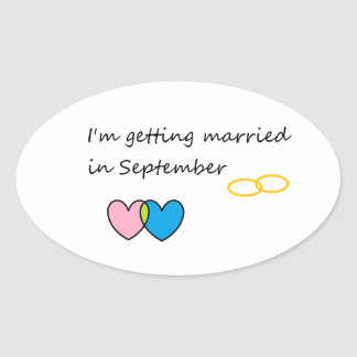 getting married 2 oval sticker