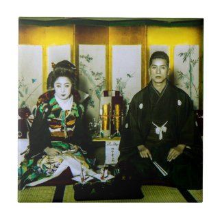 Getting Married in Old Japan The Happy Couple Ceramic Tile