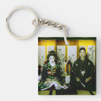 Getting Married in Old Japan The Happy Couple Single-Sided Square Acrylic Keychain