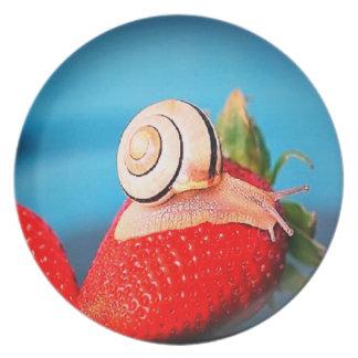 Getting my dessert Snail dinner plate