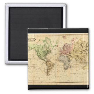 Getting ons World Map 21 Square Magnet