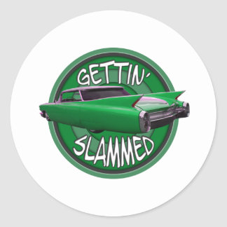getting slammed 1960 Cadillac green mamba Round Sticker