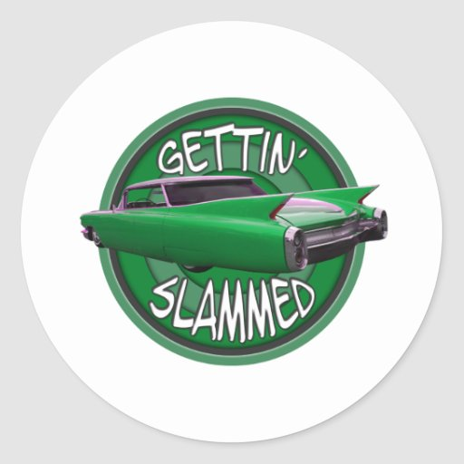getting slammed 1960 Cadillac green mamba Round Stickers