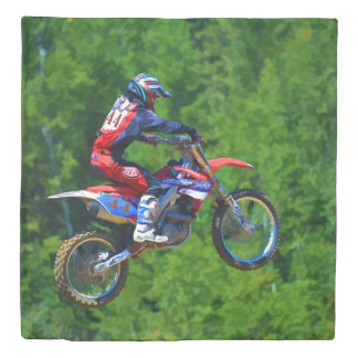 """Getting Some Air!""  High Flying Motocross Rider Duvet Cover"