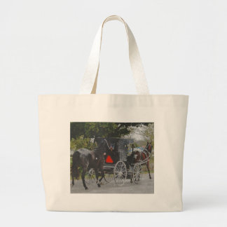 Getting the New Horse Home The Amish Way Large Tote Bag