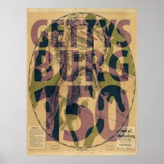 Gettysburg 150th Anniversary Map Poster