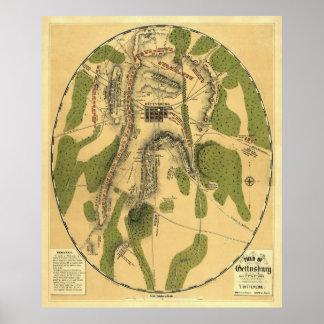 Gettysburg Battle Map 1863 - Civil War Poster