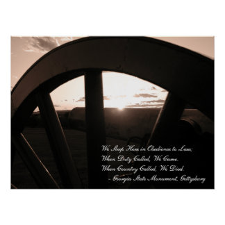 Gettysburg: Canon & Sunset with Memorial - Poster