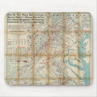 Gettysburg, Wilderness & Appomattox Civil War Map Mouse Pad