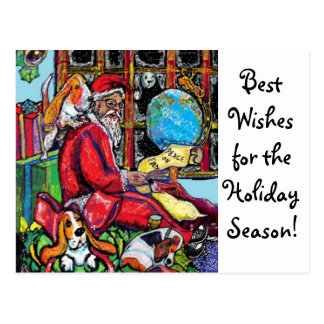 GGBR Holiday Postcard - Santa & Bassets