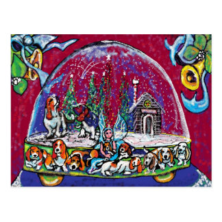 GGBR Holiday Postcard - SnowGlobe Bassets