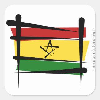 Ghana Brush Flag Square Sticker