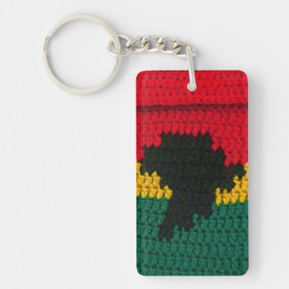 Ghana Colors Africa Map Crochet Printed Rectangle Keychain