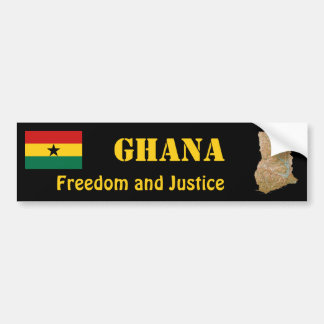 Ghana Flag + Map Bumper Sticker