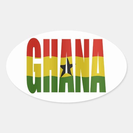 Ghana + flag oval sticker