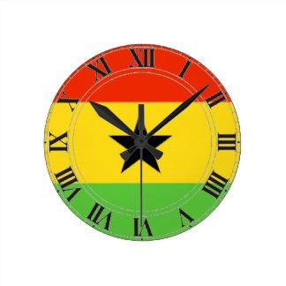 Ghana Flag Round Clock
