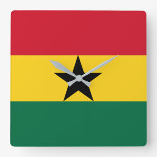 Ghana Flag Square Wall Clock