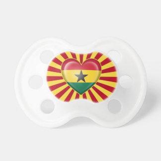 Ghana Heart Flag with Star Burst Pacifier