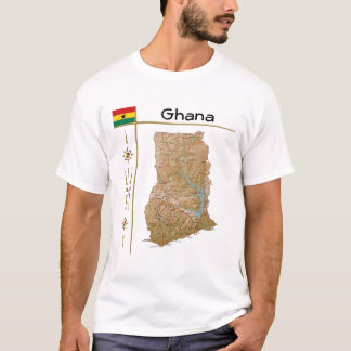 Ghana Map + Flag + Title T-Shirt