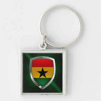Ghana Mettalic Emblem Silver-Colored Square Keychain
