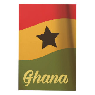 Ghana National Flag vintage style travel poster Wood Canvases
