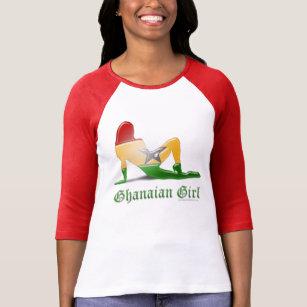 Ghanaian Girl Silhouette Flag T-Shirt