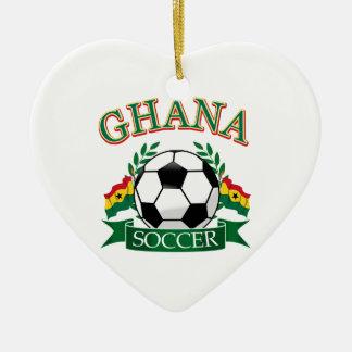 Ghanaian Soccer Designs Ceramic Heart Ornament