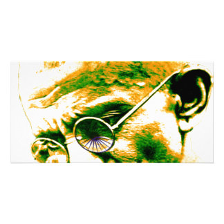 Ghandi in orange, green and white photo cards