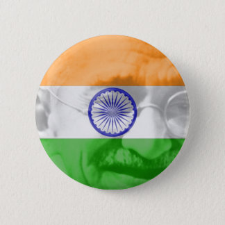 Ghandi on Indian Flag 2 Inch Round Button