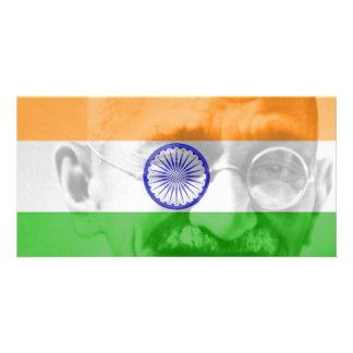 Ghandi on Indian Flag Photo Greeting Card