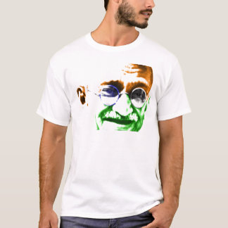 Ghandi on Subtle Indian Flag T-Shirt