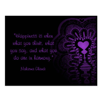 Ghandi quote india henna purple heart love pink postcard