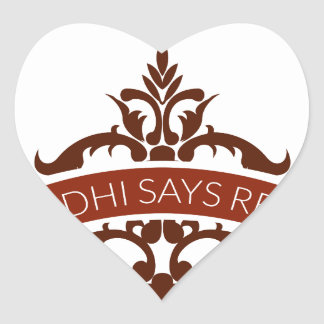 ghandi says relax heart sticker