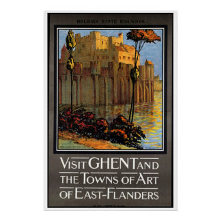 Ghent, Belgium, Vintage Travel Poster