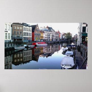 Ghent City Skyline Poster