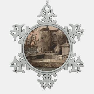 Ghent Gate, Bruges, Belgium Pewter Snowflake Ornament