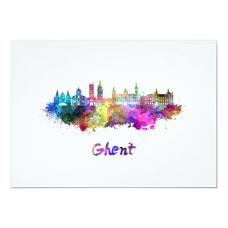 Ghent skyline in watercolor card