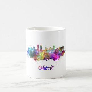 Ghent skyline in watercolor coffee mug