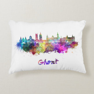Ghent skyline in watercolor decorative pillow
